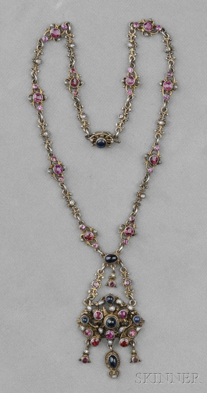 Renaissance Revival Silver Gem-set Necklace