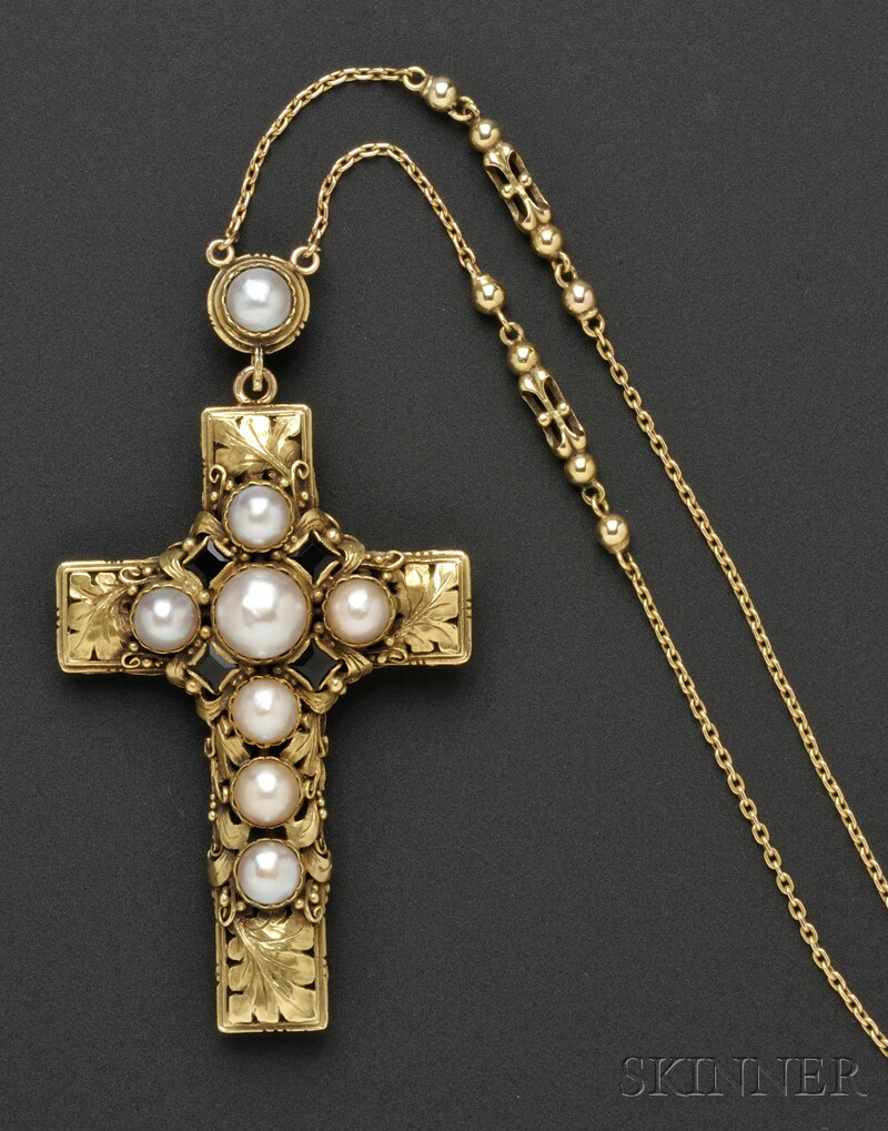 Arts & Crafts Gold, Opal, and Pearl Cross and Chain, Edward Oakes