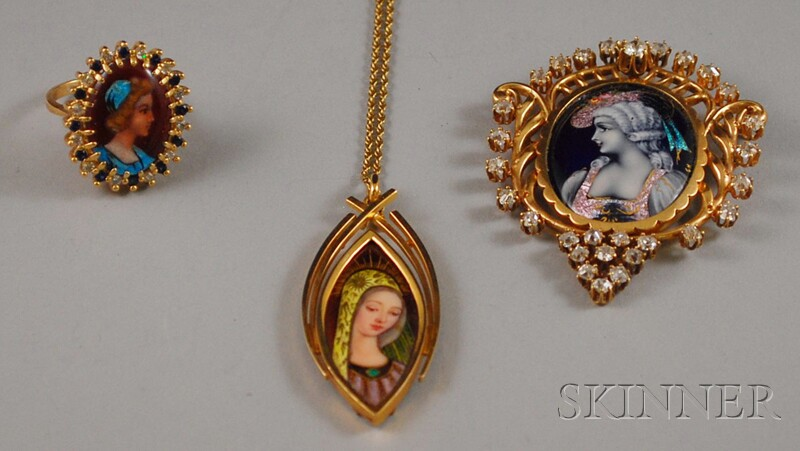 Three Gold and Limoges Enamel Portrait Jewelry Items