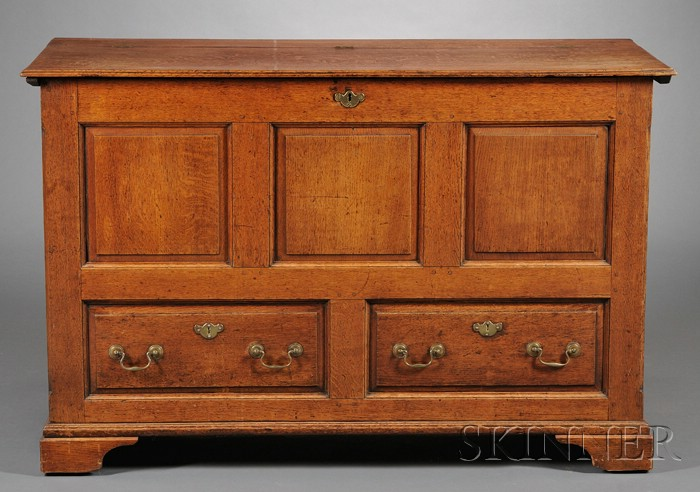 Oak Joined Paneled Chest over Faux Drawer