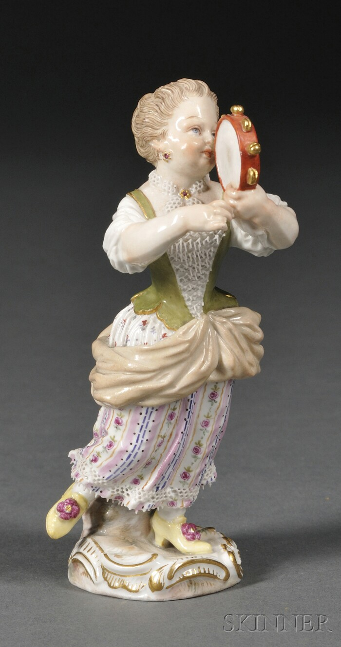 Meissen Porcelain Figure of a Girl Playing the Tambourine
