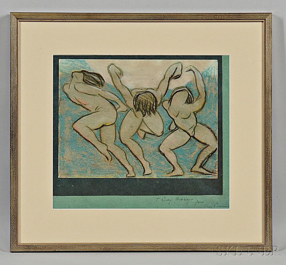Perrine, Van Dearing (1869-1955) Studies of Isadora Duncan Dancing and One Framed Pastel, Inscribed.