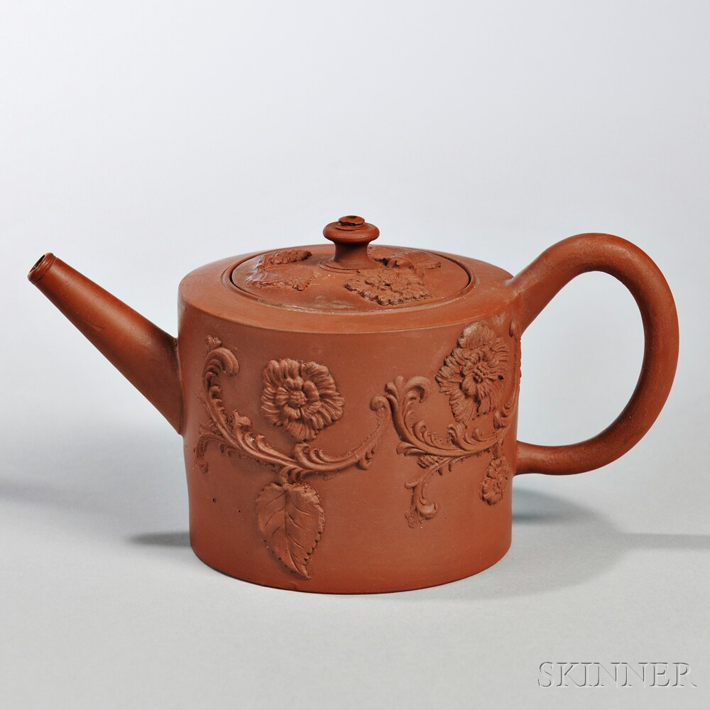 Red Stoneware Teapot and Cover