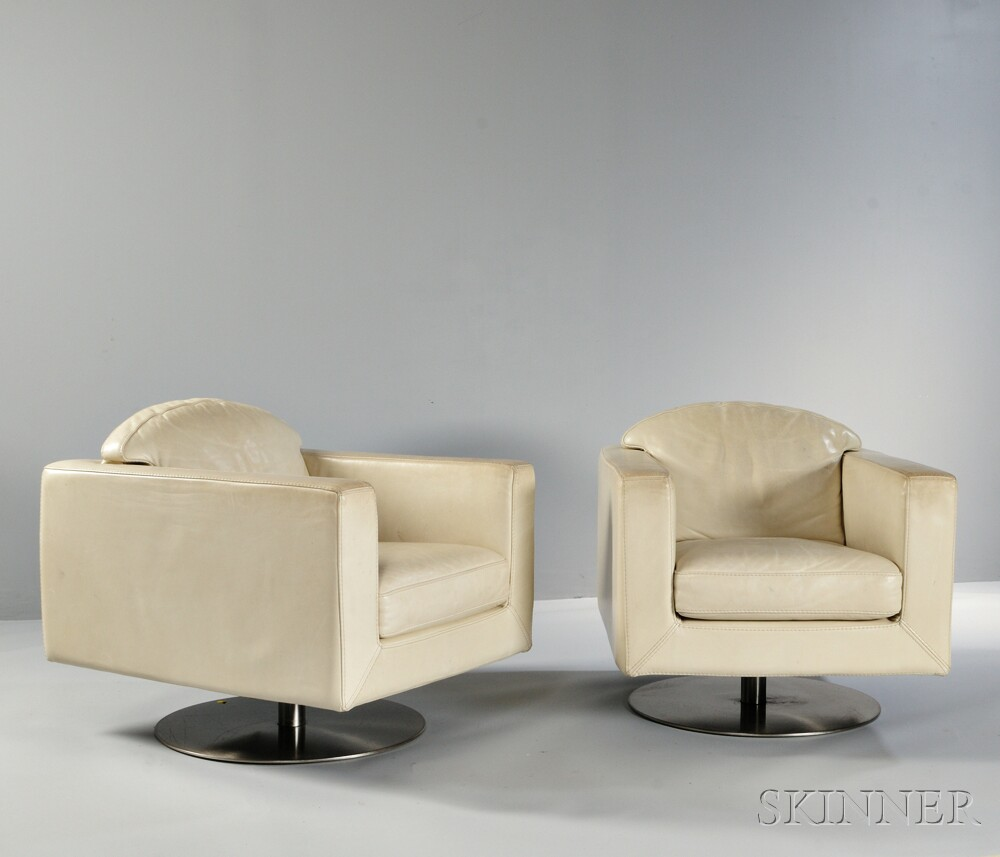 Two Roche Bobois Swivel Armchairs ...