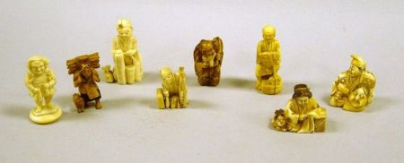 Eight Asian and European Carved Ivory and Resin Figures.