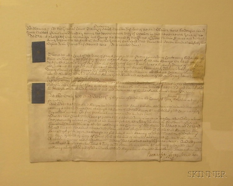 Framed 18th Century British Deed for the Country Manor of Great Baddow De Witt Under King George II.