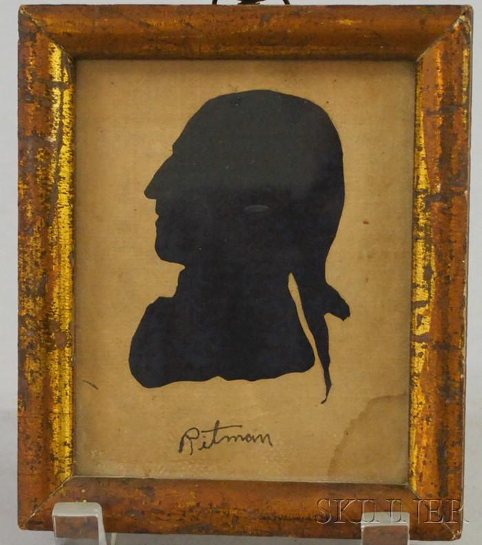Giltwood Framed Miniature Cut Paper Silhouette of George Washington