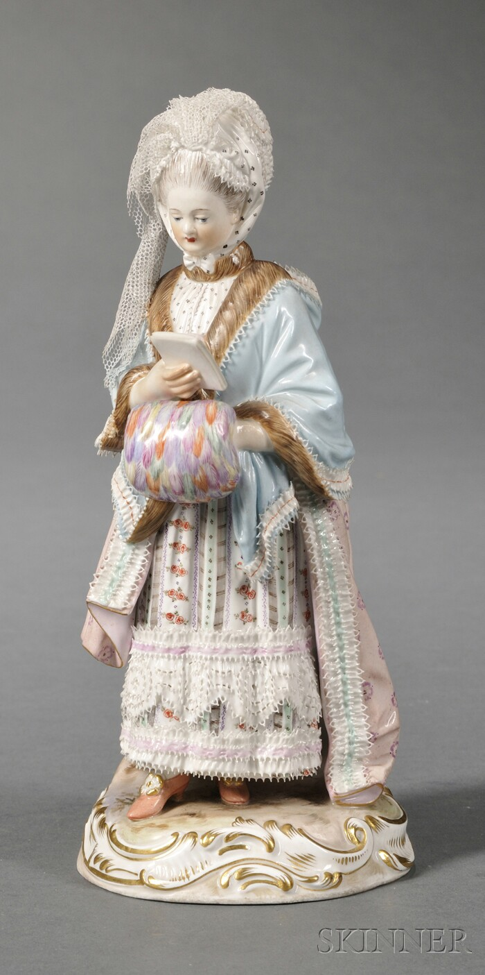 Meissen Porcelain Figure of a Well-dressed Lady