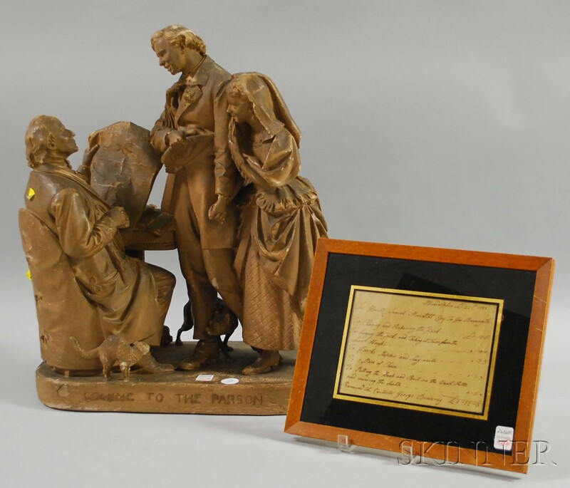 John Rogers Painted Plaster Figural Group Coming to the Parson and a Framed 1788 Handwritten Receipt Between Samuel Meridiht (Meredit