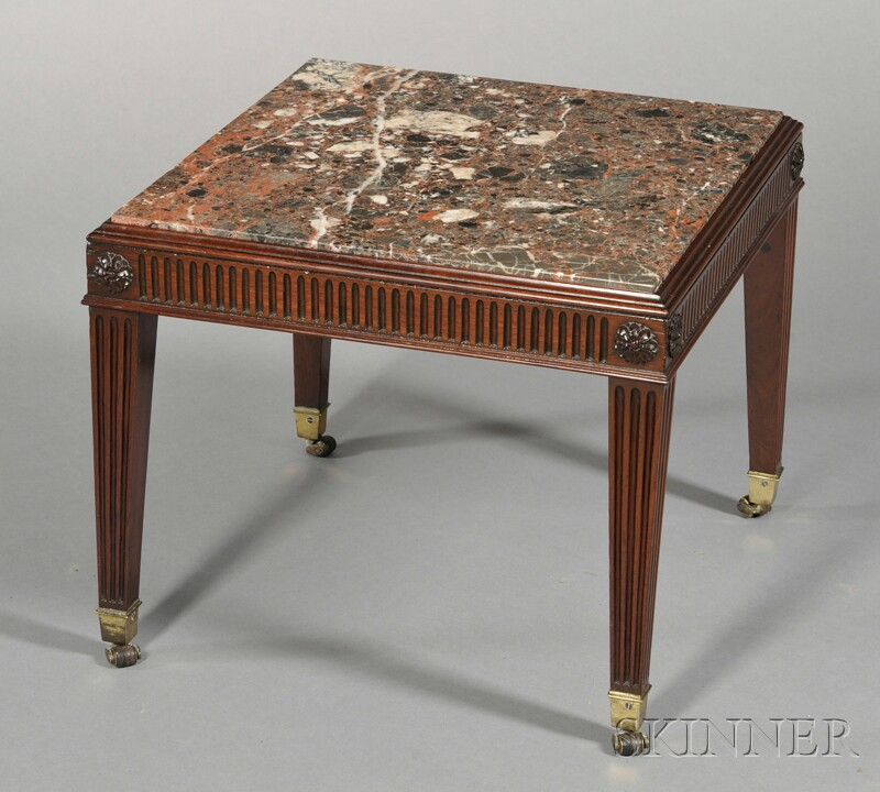 George III Marble-top Mahogany Square Stand