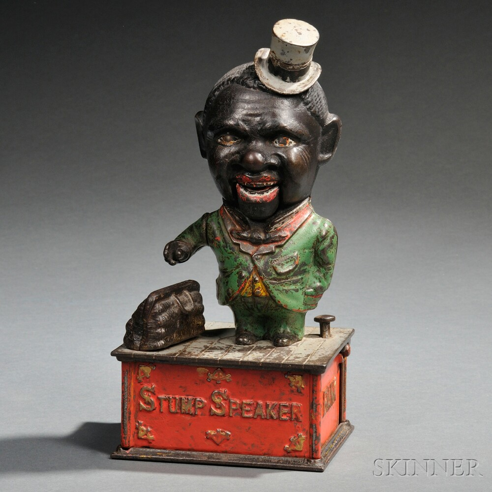 "Painted Cast Iron Mechanical ""Stump Speaker"" Bank"