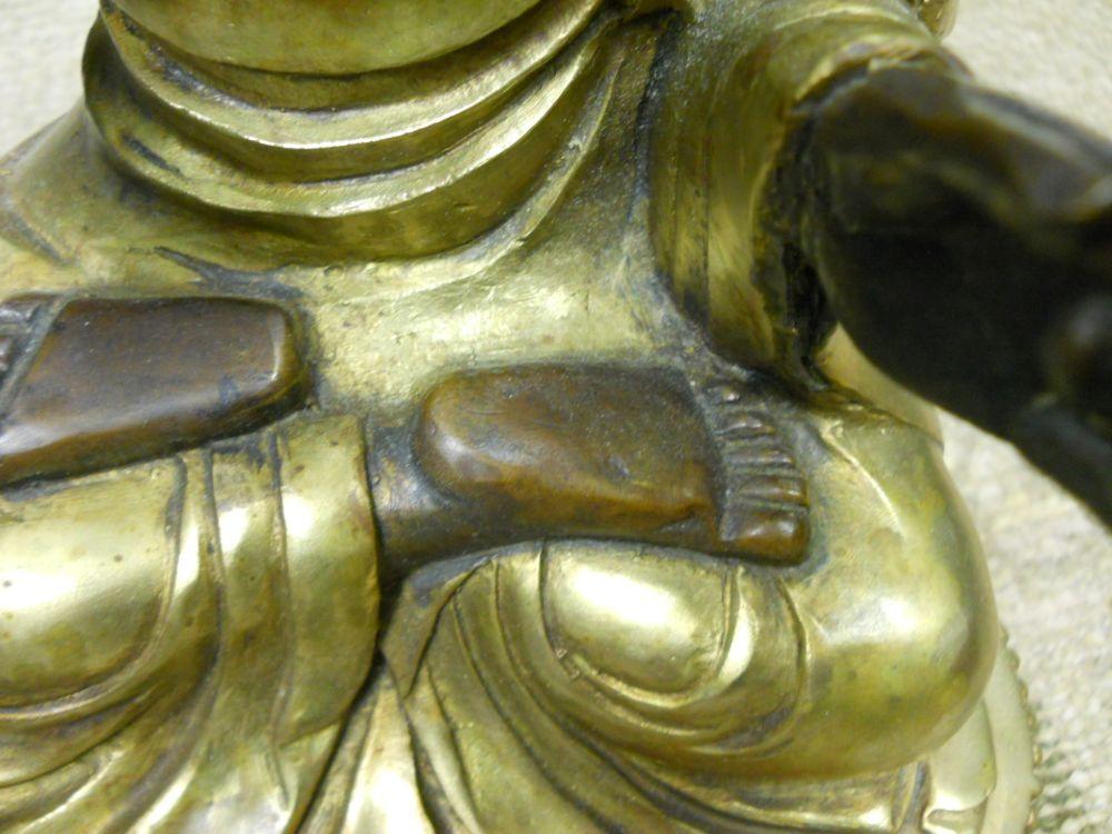 Parcel-gilt Bronze Figure of a Bearded Monk