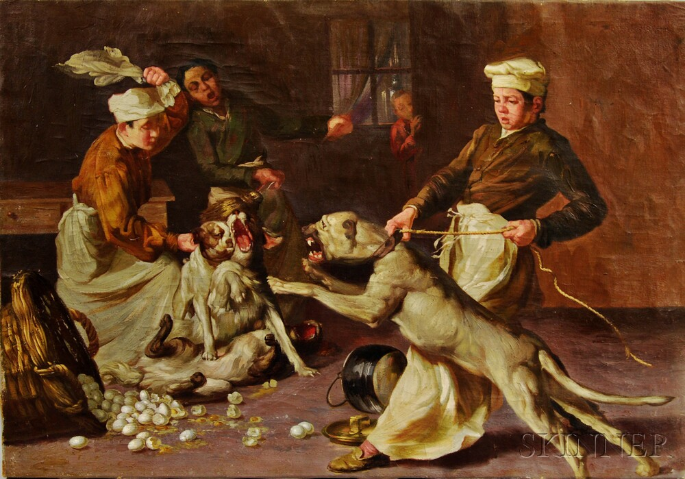 Continental School, 19th/20th Century      Kitchen Boys Restraining Fighting Dogs in an Interior