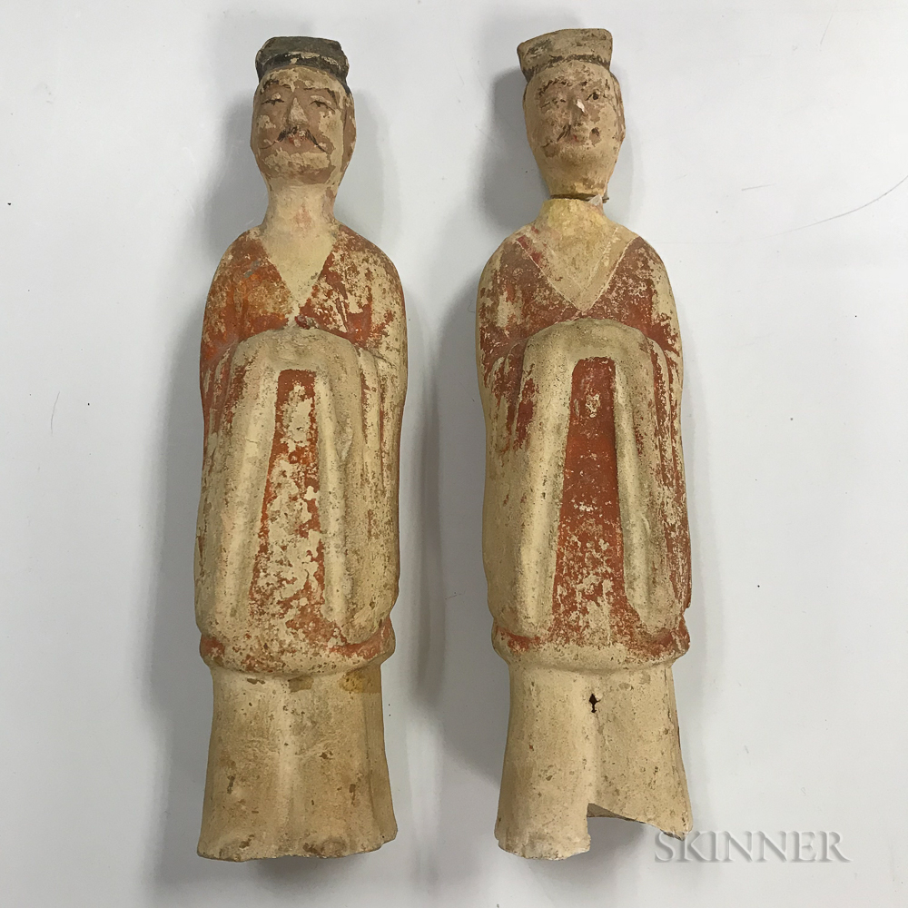 Two Pottery Figures of Officials