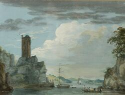 Paul Sandby (British, 1725-1809)  River Landscape With Ferry and Ruined Tower