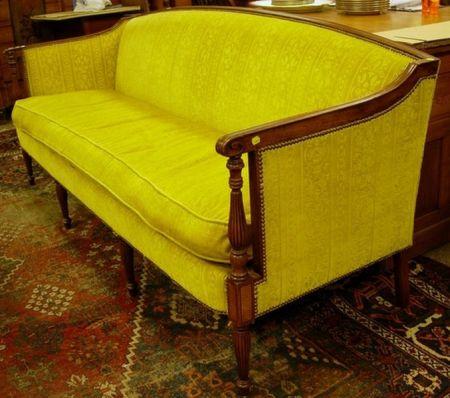 Sheraton-style Upholstered Mahogany-finished Sofa.