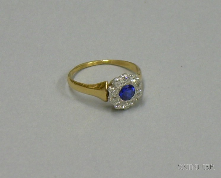 14kt Gold, Sapphire, and Diamond Pinky Ring