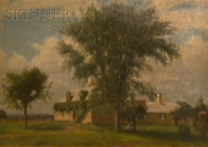 Lot of Two Works: Attributed to Alfred T. Ordway (American, 1819-1897) , Home of George Jaffrey (1637-1707) , Outside Portsmouth N.H...
