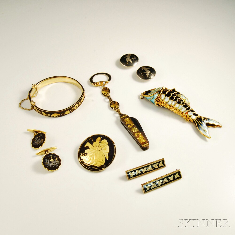 Group of Shakudo Jewelry