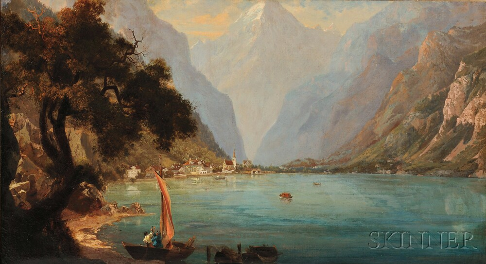 German or Austrian School, 19th Century      Alpine Lake Scene
