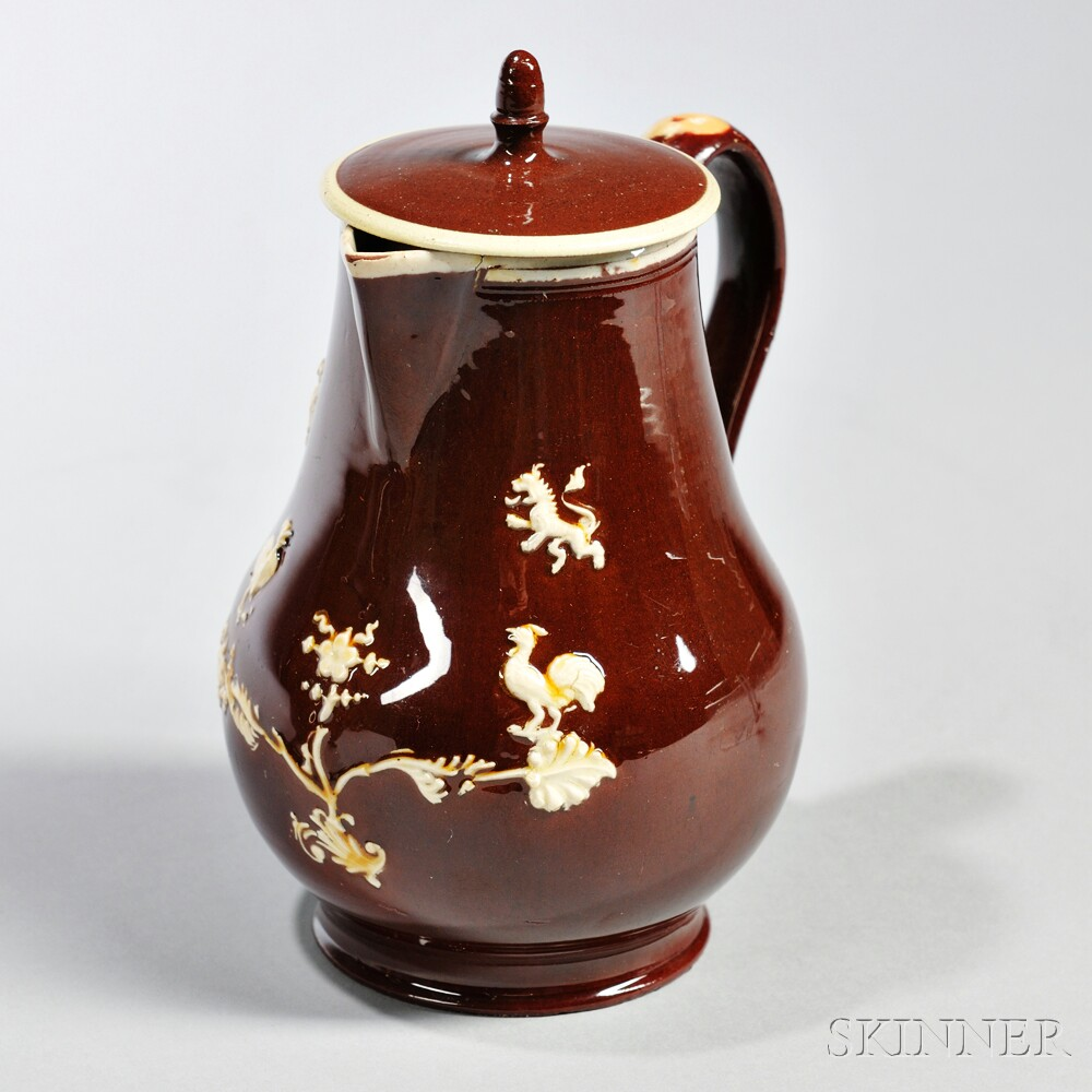 Glazed Red Earthenware Milk Jug and Cover
