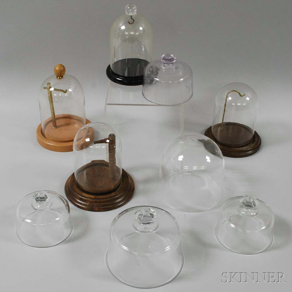 Group of Colorless Glass Pocket Watch Display Domes and Watch Movement Dust Covers