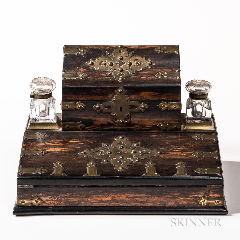 Victorian Brass-mounted Calamander Writing Box