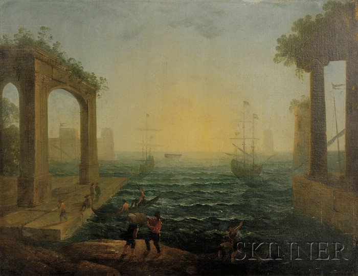 After Claude Lorrain (French, 1600-1682)      Harbor Scene with Figures and Classical Ruins.