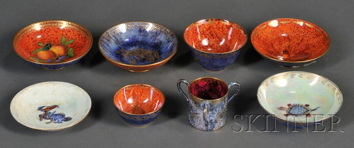 Eight Small Wedgwood Lustre Items