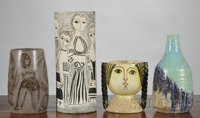 Four Mid-century Art Pottery Vases