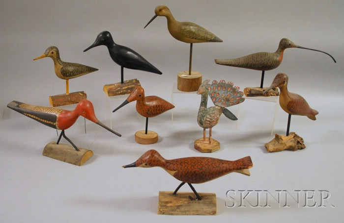 Nine Carved and Painted Wood Shorebird and Bird Figures