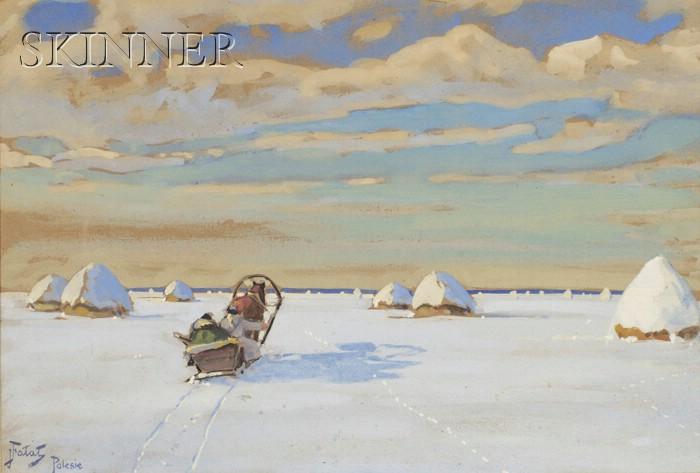 Julian Falat (Polish/Austrian, 1853-1929)      Snowy Hayfield with Horse-drawn Sleigh