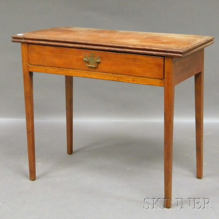Federal Cherry Card Table with Drawer and Tapering Legs.