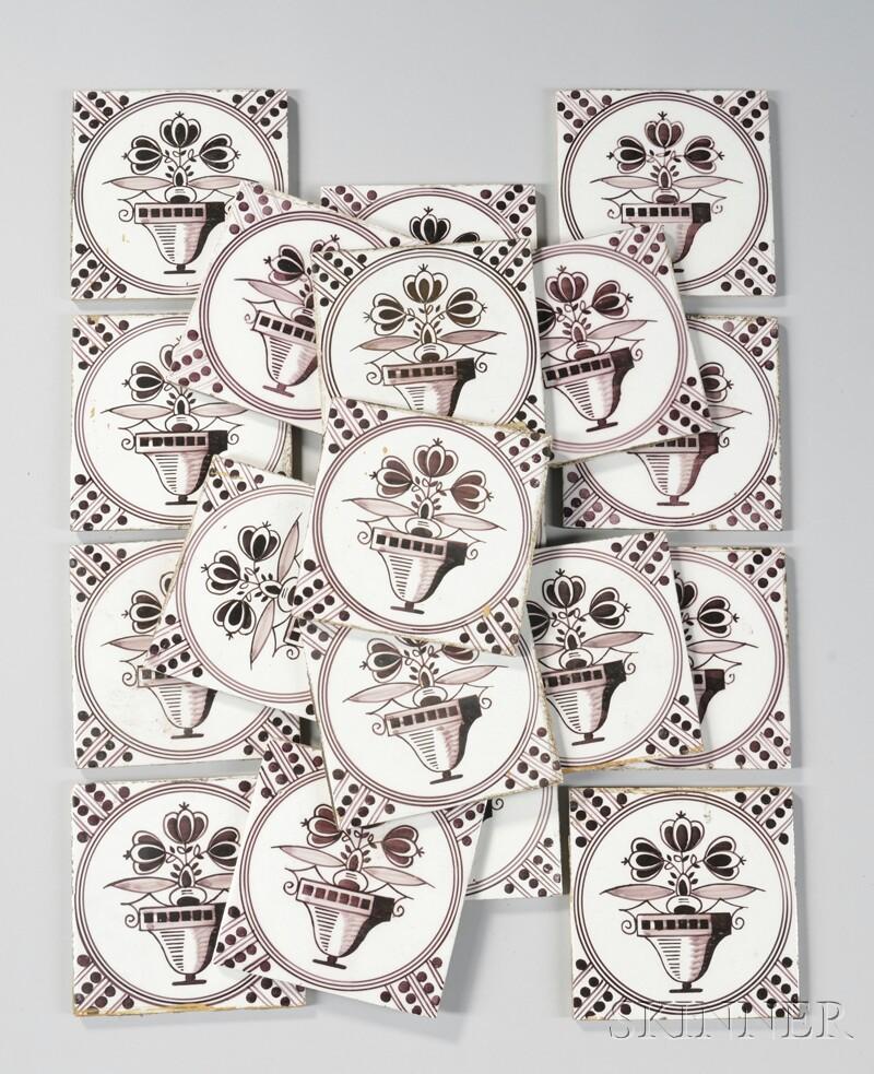Set of Twenty Delft Manganese Vase of Flowers-decorated Pottery Tiles