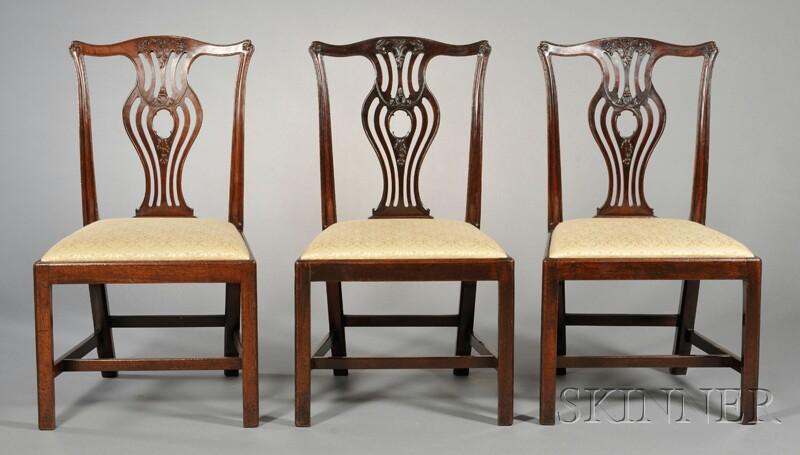 Three George III Mahogany Side Chairs