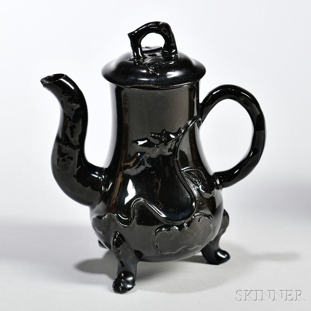 Black-glazed Red Stoneware Milk Jug and Cover