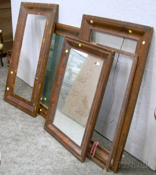 Four Mahogany Veneer Ogee Framed Mirrors and Frames.