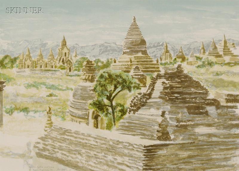Philip Pearlstein (American, b. 1924)      Lot of Two Views:  Pagan, Myanmar