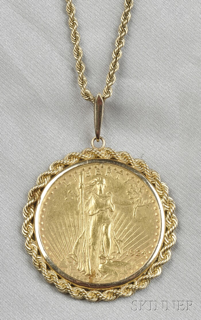 1924 Saint-Gaudens Twenty Dollar Gold Coin-mounted Pendant