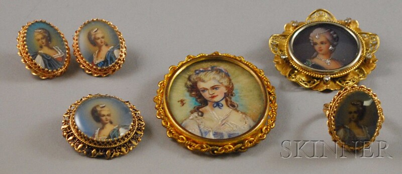 Small Group of Antique Portrait Jewelry