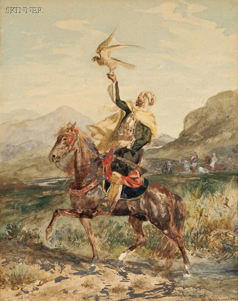 Attributed to Georges Washington (French, 1827-1910)      View of an Arab Falconer on Horseback
