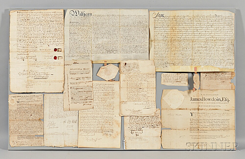 American Signed Documents, Mostly 17th and 18th Century, Massachusetts Governors.