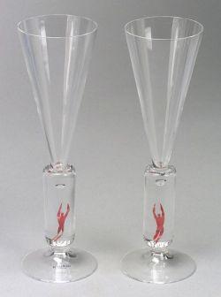 Two Bertil Vallien Millennium Art Glass Champagne Flutes