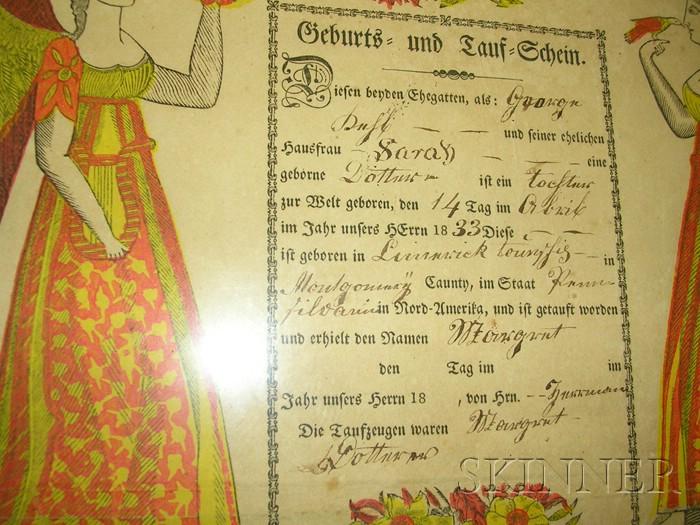 Two Framed Pennsylvania German Printed Frakturs
