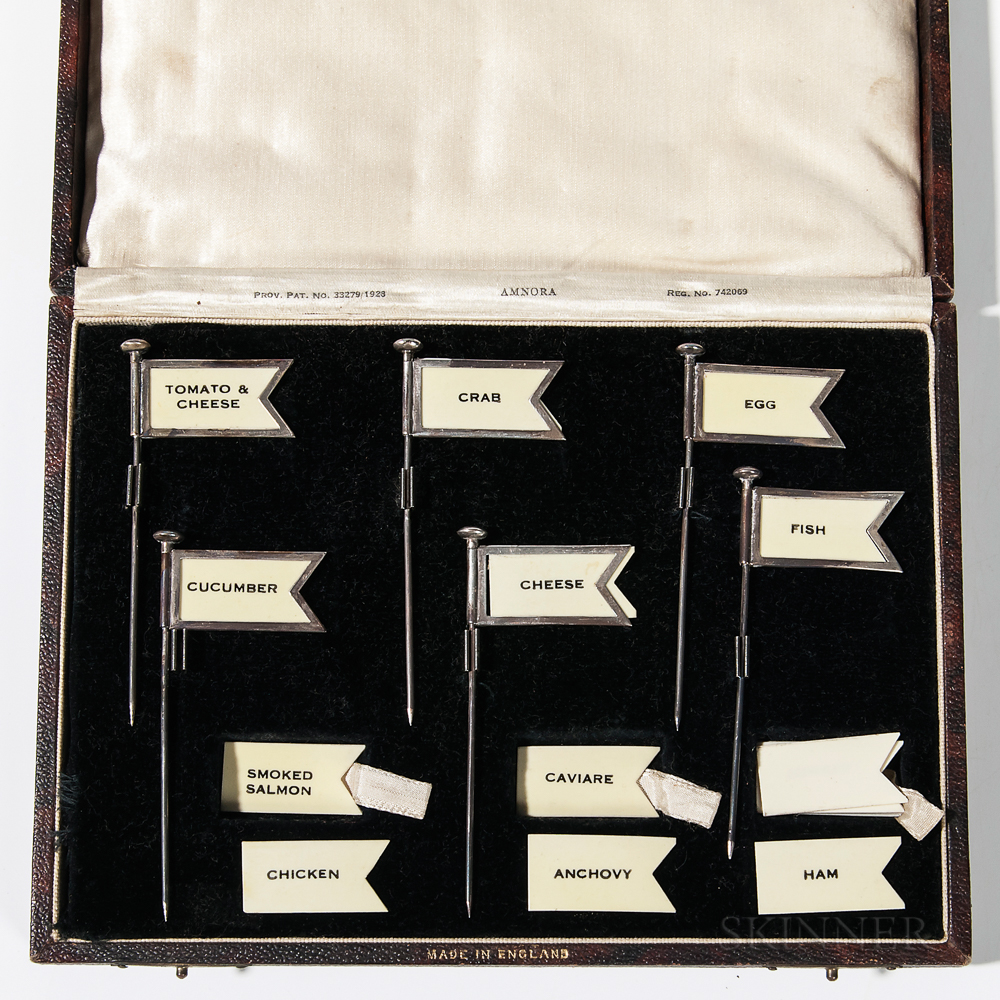 Set of Six Boxed Silver Appetizer Pennants