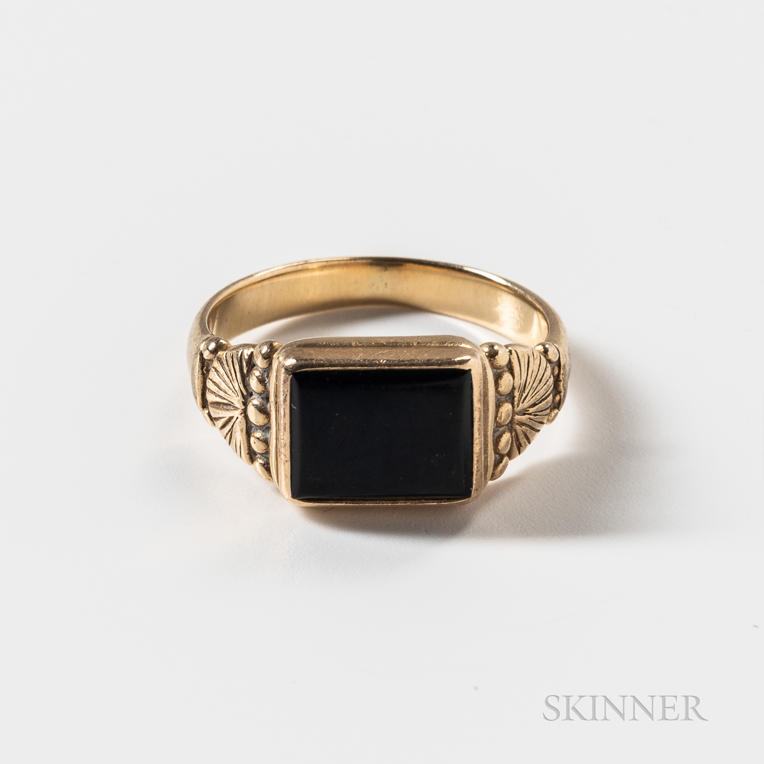14kt Gold and Onyx Mourning Ring
