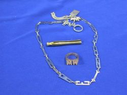 14kt Gold and Diamond Initials Ring, Sterling Key Chain, Swank Gilt Clothes Peg.