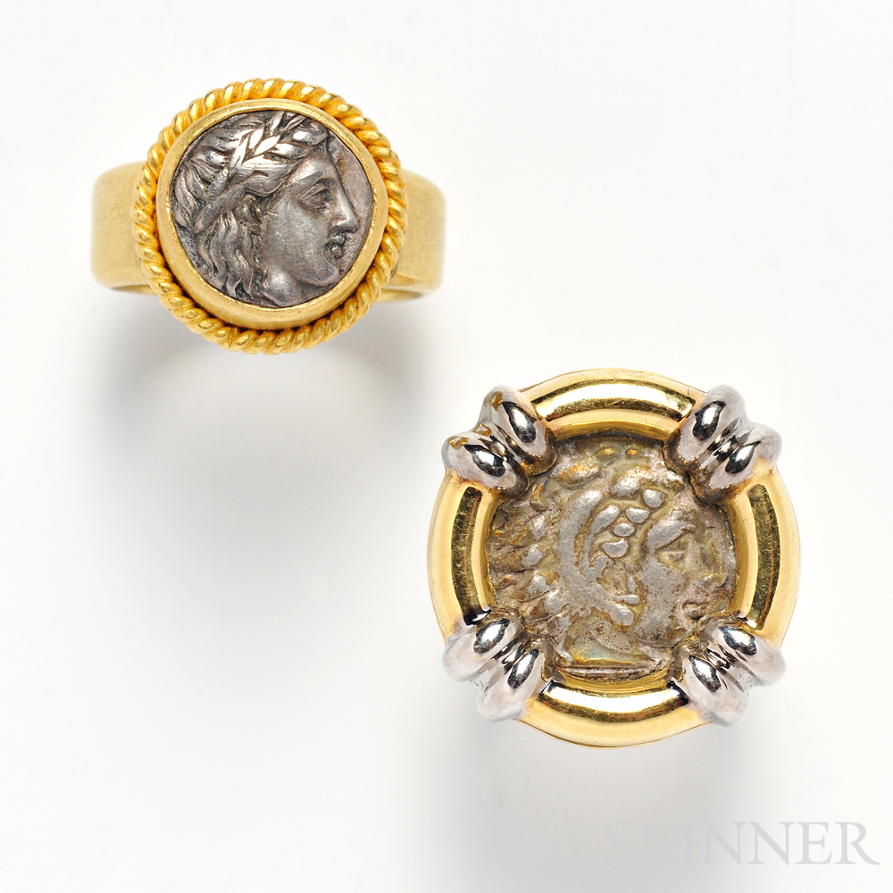 Two Gold and Silver Coin Rings