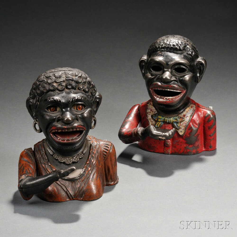 """Two Painted Cast Iron Mechanical """"Black"""" Figural Banks"""
