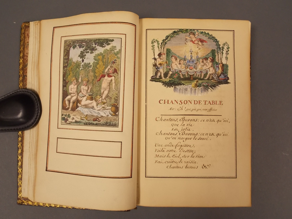 French Manuscript on Paper with Hand-colored Engravings and Vignettes, Late 18th Century, Les Consolations des Miseres de la Vie, ou Re